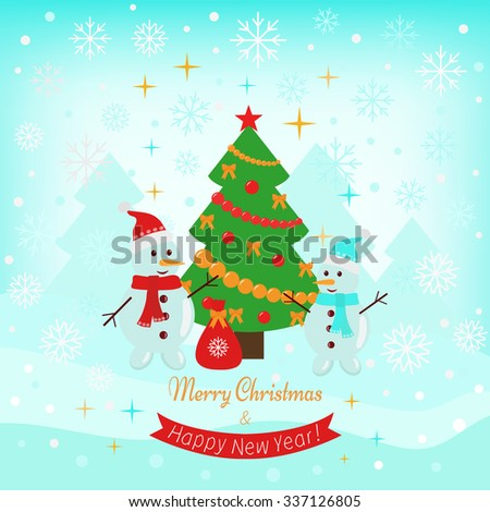 Vector Christmas holiday card with two snowmen and decorated Christmas tree.