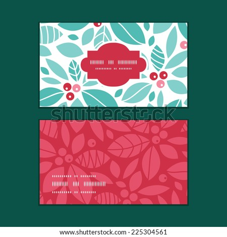Vector christmas holly berries horizontal frame pattern business cards set - stock vector