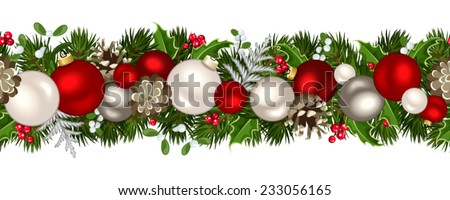Vector Christmas horizontal seamless background with fir-tree branches, red and silver balls, cones, holly and mistletoe. - stock vector