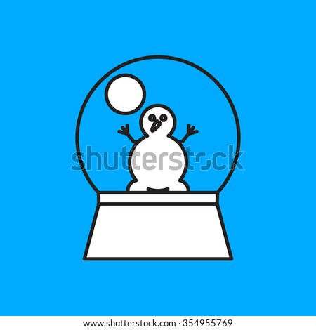 Vector christmas icon. New year illustration.  Snow globe with snowman