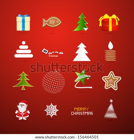 Vector Christmas Icons on Red Background