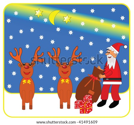 Vector christmas illustration of santa claus and reindeer.