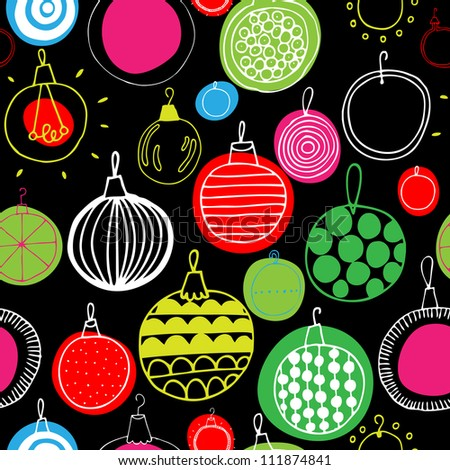 Vector Christmas illustration seamless pattern with bright tree balls - stock vector