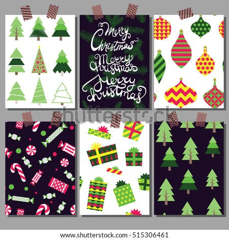 Vector Christmas illustration. Set of Christmas backgrounds. A collection of Christmas cards.