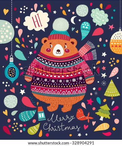 Vector Christmas illustration with Adorable cute little Bear - stock vector