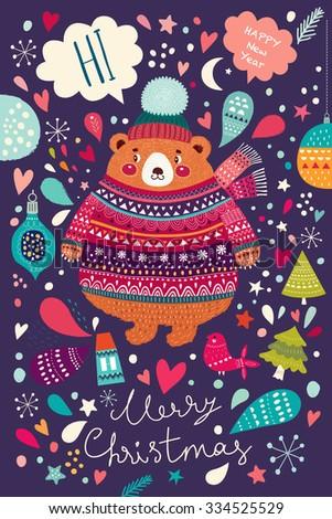 Vector Christmas illustration with Adorable cute little Bear - stock vector