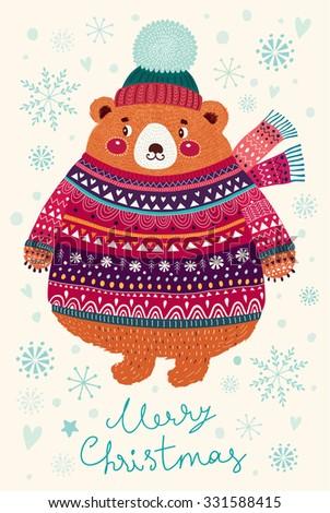Vector Christmas illustration with Adorable cute little Bear. Christmas Postcard - stock vector