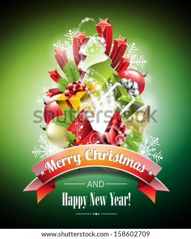 Vector Christmas illustration with magic gift boxes and shiny holiday elements on green background. EPS 10 illustration. - stock vector