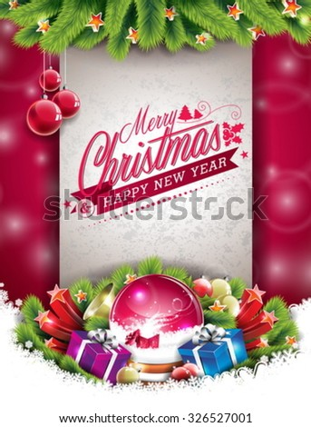 Vector Christmas illustration with typographic design and shiny holiday elements on red background. EPS 10 illustration. - stock vector