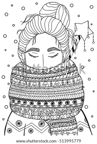 vector christmas illustration zentangl girl in scarf doodle drawing coloring book anti stress for - Winter Coloring Pages For Adults