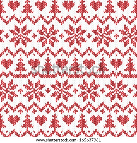 Vector christmas knitted background - stock vector