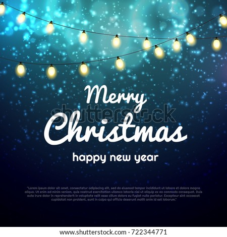 Vector Christmas Lights Bokeh Background With Party Bright Poster