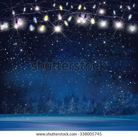 Vector Christmas lights on  night wonderland background. - stock vector
