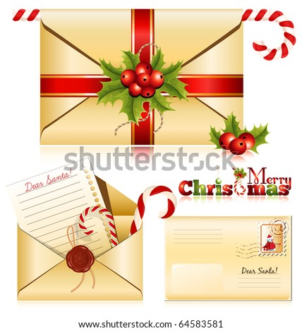 Vector. Christmas mail. Letter to Santa. - stock vector
