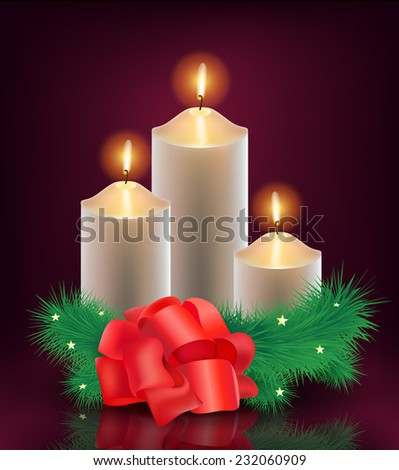 vector christmas, new year card, 3 burning candles with christmas tree and red bow tie - stock vector
