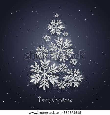 Vector Christmas New Year greeting card with sparkling glitter silver textured snowflakes make Christmas tree shape. Seasonal holidays background.