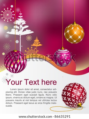 Vector Christmas & New-Year's greeting card : elegant Christmas background with evening baubles - stock vector