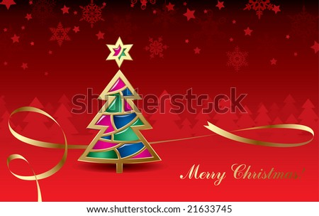 Vector Christmas & New-Year's greeting card with a gold tree