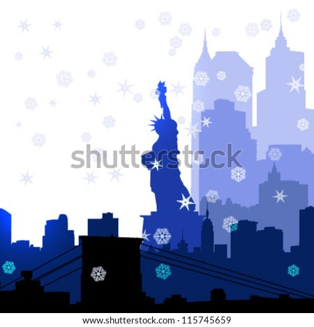vector Christmas New York silhouettes illustration - stock vector