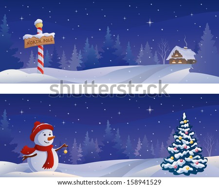 Vector Christmas night snowy banners with a snowman and a North Pole sign - stock vector