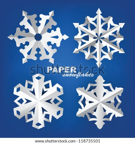 vector christmas paper snowflakes on blue background - stock vector