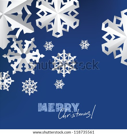 vector christmas paper snowflakes on blue background