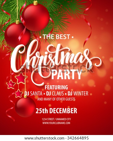 Vector Christmas Party design template. Vector illustration EPS10 - stock vector