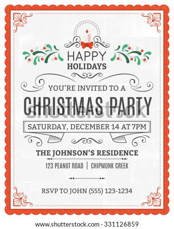 Vector christmas party invitation. Dummy text is on a separate layer for easy removal. Only solid fills used.
