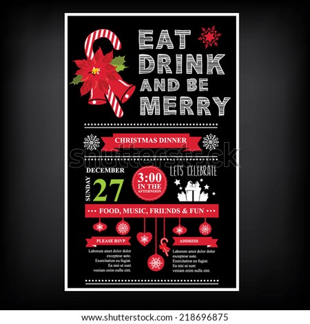 Vector christmas party invitation with toys. Holiday background and design banner. Vector template with  xmas graphic. - stock vector