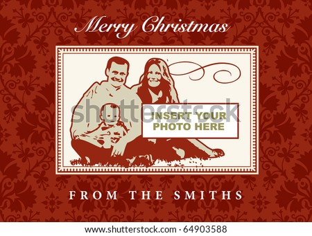 Vector Christmas Photo Frame - stock vector