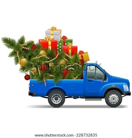 Vector Christmas Pickup - stock vector