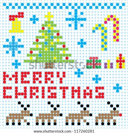 Vector Christmas Pixel Art Card Stock Vector 117260281 - Shutterstock