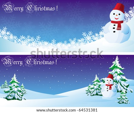 Vector christmas postcard with snowman and needles - stock vector