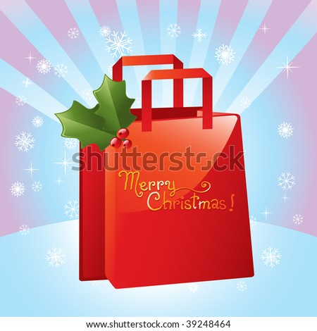 vector christmas red shopping bag in star burst