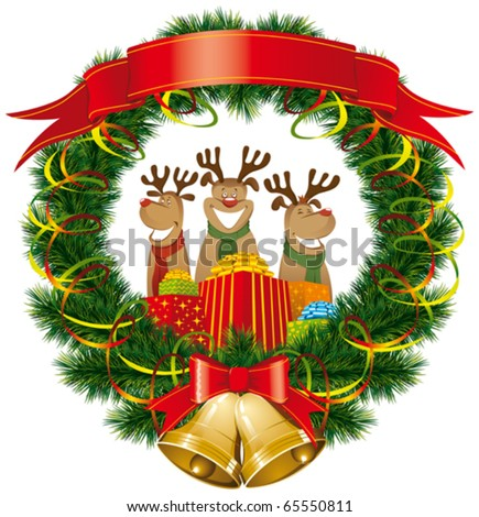 vector christmas reindeer with christmas bells and tree - stock vector
