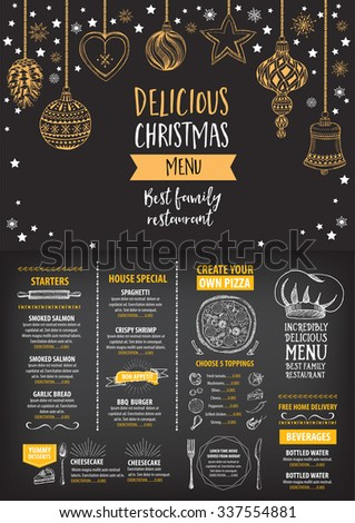 Vector christmas restaurant brochure, menu design. Vector holiday template with xmas hand-drawn graphic. Happy New Year invitation flyer. - stock vector