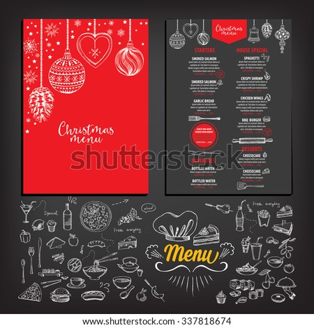 Vector Christmas Restaurant Brochure Menu Design Stock Vector