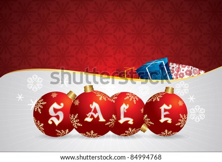 Vector Christmas Sale Poster - stock vector