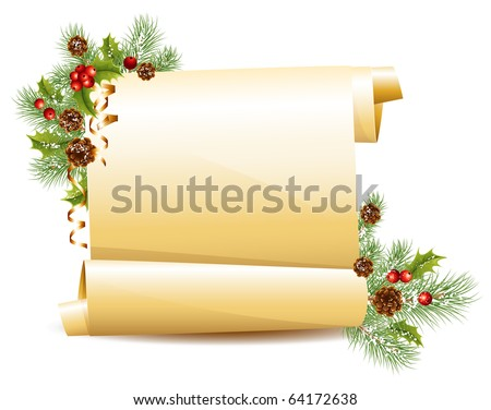 Vector. Christmas scroll. - stock vector