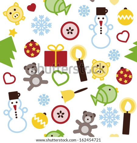 Vector Christmas seamless colorful pattern. - stock vector