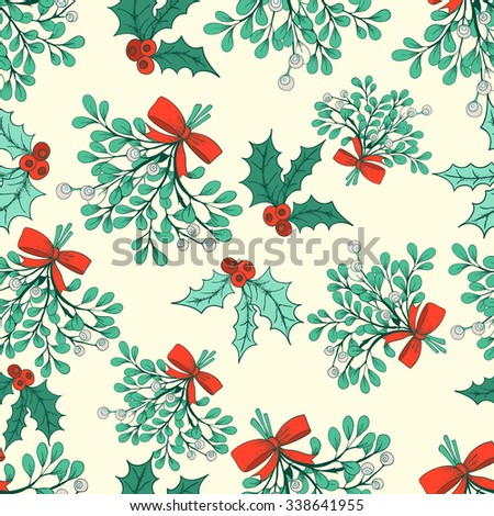 Vector Christmas seamless pattern with branches of mistletoe. For fabric, wrapping paper, print and web projects. Greeting card design. Vector mistletoe. Winter template. - stock vector