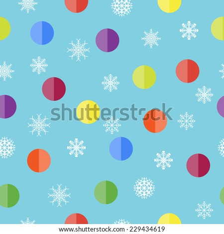 Vector Christmas seamless pattern with snowflakes and balls - stock vector