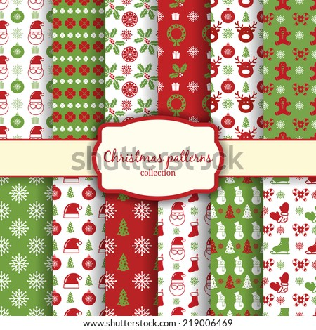 vector christmas seamless patterns for xmas cards and gift wrapping paper - stock vector