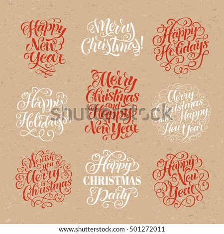Vector Christmas set of holidays lettering. Merry Christmas and Happy New Year calligraphy for invitation and greeting card, prints and posters. Hand drawn typography on craft paper background