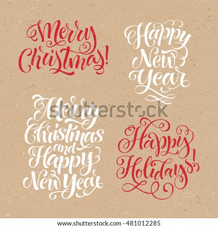 Vector christmas set of holidays lettering. Merry Christmas and Happy New Year text lettering for invitation and greeting card, prints and posters. Hand drawn typography on craft paper background