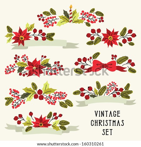 Vector Christmas set with vintage flowers - stock vector