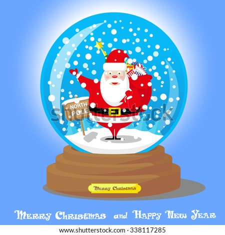 Vector Christmas Snow Globe: Santa Claus with big bag gifts and Xmas tree backdrop sign North Pole on blue gradient background - stock vector