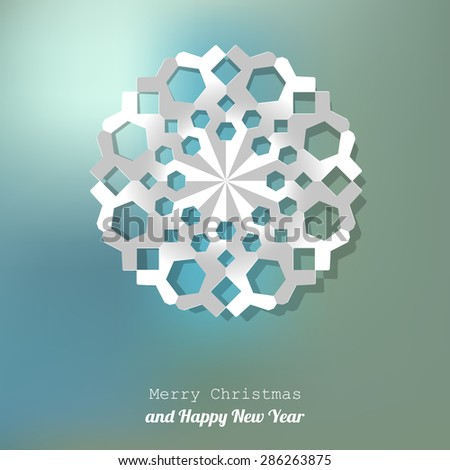 vector christmas snowflake paper on blue bokeh background  - stock vector