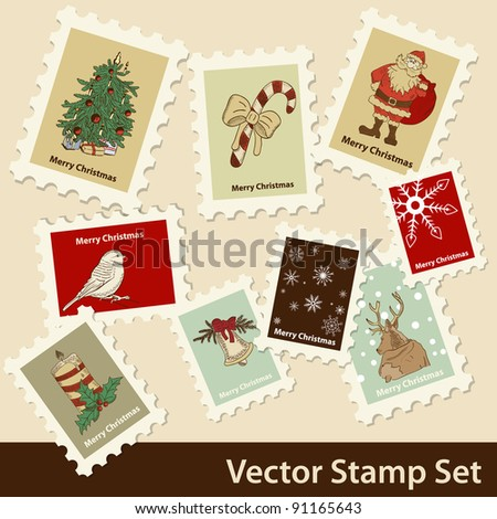 Vector Christmas stamps set