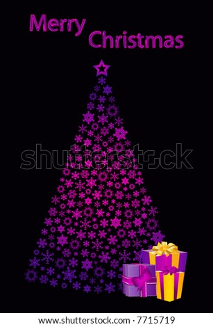 vector christmas tree and gifts - stock vector